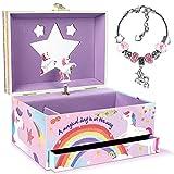 Tacobear Cajas de Musical Caja de música para Niñas Unicornio Joyero Musical con Pulsera y Cajón Unicornio Cumpleanos Regalos para Niñas 3 4 5 6 7 8 9 10 años