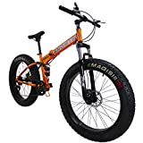 SAIGULA Fat Tire Folding Mountain Bike,Fat Bikes 26 Inch 4.0' Tire 7 Speed for Beach Snow (FB2 Orange)