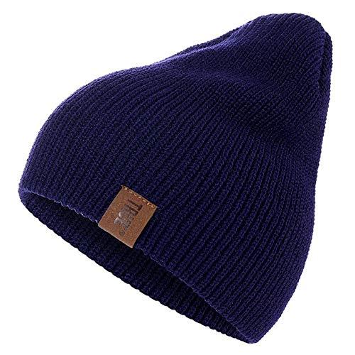 IMmps Sombrero de Hombre Letras de PU Guisantes Casuales Reales Sombrero de Invierno de Punto cálido para Mujer Sombrero de Gorro de Hip-Hop sólido Sombrero Unisex - Azul X 54cm-60cm