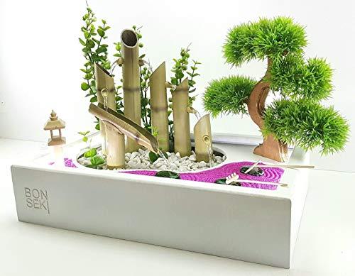 Bonseki® Fontana Zen con giardino 40 x 25 bianco, da interno. Personalizzabile, con illuminazione Led.