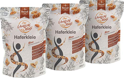 RennerVital WohlfühlMüsli Haferkleie Müsli Chia Samen 3 x 500 Gramm NUSS Porridge Slow Carb cholesterinsenkend gesund abnehmen Lebensmittel frei von künstlichen Aromen
