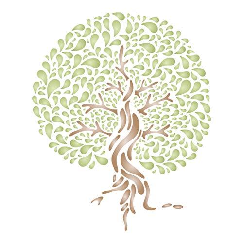 Stilisierte Baumschablone – dekorative Baum-Silhouette, Wandschablonen L