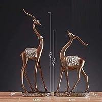 彫刻の装飾、家の室内装飾の彫像彫刻の図収集品置物の装飾品アクセサリー恋人の鹿家の鹿-B