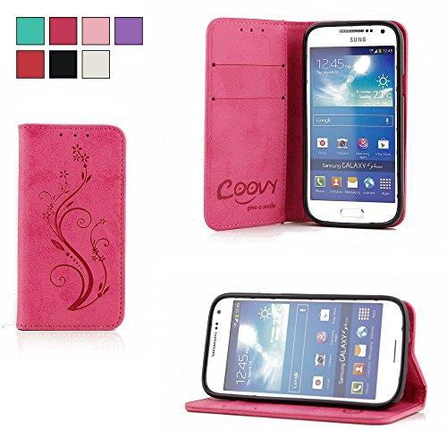 COOVY® Cover für Samsung Galaxy S4 Mini GT-i9190 GT-i9195 GT-i9192 Case Wallet Schutz Etui mit Kartenfach, Standfunktion + Schutzfolie - Design Blume | Farbe hotpink