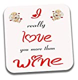 I Love sur le thème du vin à café/thé Coaster–Saint-Valentin/anniversaire/cadeau d'anniversaire pour elle ou Lui