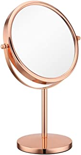 XZPENG Magnifying Makeup Mirror, 10X Magnification 8-Inch Double-sided Round Rotating High-Definition Gold Desktop Vanity Mirror (Color : Gold)