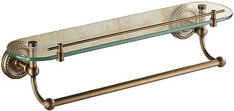 Yxsd Antieke Badkamer Glazen Plank, All-koper 1-laye Wandgemonteerde Handdoekenrek, met Staaf Glazen Plank 20.8 ''×5.1'' b...