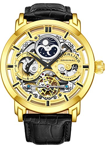 Stuhrling Original Mens Automatic-Self-Wind Luxury Dress Skeleton Dual Time Gold-Tone Wrist-Watch 22 Jewels 47 mm Stainless Steel Case Decorative Exposed Back Embossed Supple Genuine Leather Strap …