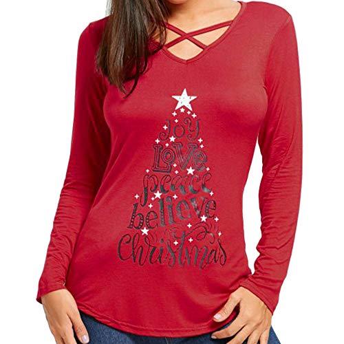 kaifongfu Women Christmas Shirt Long Sleeve V Neck Shirt Tops Blouse(Red,XL)