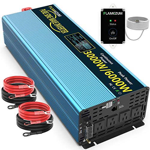 FLAMEZUM Pure Sine Wave Power Inverter 3000 Watts 12V to 110V 120V DC to AC Peak Power 6000 Watt with Remote Control 4 AC Outlets and Dual USB Ports for CPAP RVs Truck Car Solar System Emergency Blue