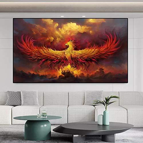 JHGJHK Arte Moderno Pintura Dorada Llama Dorada Phoenix Pintura al óleo hogar Sala de Estar decoración de Pared Pintura
