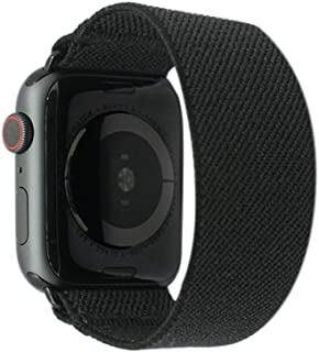 Tefeca Black Elastic Compatible/Replacement Band for Apple Watch 38mm 40mm 42mm 44mm (Black Adapter for 38mm/40mm Apple Watch, Wrist Size : 6.0-6.4 inch (L2))