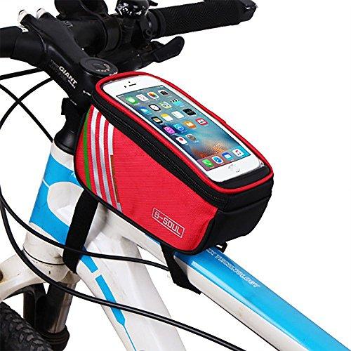 YAJAN-Fietstas Fietstas Mountainbike Front Beam Bovenste Buis Rijdbuis Tool Apparatuur Touch Screen Mobiele Telefoon (4.8/5.7 Inch)