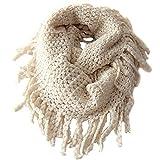 Tusong Winter Kids Toddler Knit Warmer Tassels Neck Scarf Circle Loop Round Scarves Shawl (Beige)