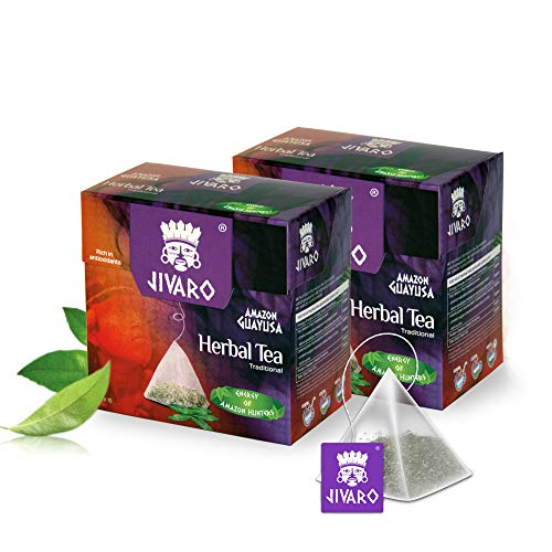 Guayusa Tee von JIVARO (Doppelpack) - 2x15 Teebeutel - Kräutertee zur Verbesserung der Konzentration - mit natürlichem Koffein, viele Antioxidantien & L-Theanin