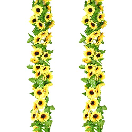 SOIMISS 2pcs Artificial Sunflower Vine Hanging Plastic Botanical Greenery Vine Garland Leaves for Wall Indoor Outdoor Hanging Baskets Wedding Garland Decor 2.
