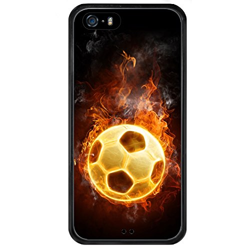 iPhone 5s 5 SE Phone Case,Soccer Fire Series Slim-Fit Anti-Scratch Shock Proof PC and TPU Case for iPhone 5s 5 SE Black