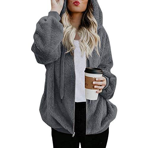 Vexiangni Chaqueta de punto para mujer, de forro polar, con capucha, de pelo sinttico, con cremallera, forro polar y capucha, gris, XXXL