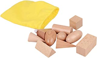 Wooden Geometric Solids with Mystery Bag,Cultivate children's hands on ability and open thinking,Montessori 3D Shapes Mini...