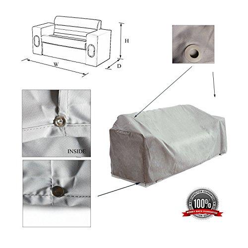 SavvyCraft Waterproof Pontoon Lounge Seat Cover 23' D x56 W x 29' H Grey