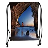 Fevthmii Drawstring Backpacks Bags,Natural Cave Decorations,Hole in The Majestic Rock by The Sea New Zeland Dream Magical Spot Calm View,Grey Blue Soft Satin,5 Liter Capacity,Adjustable Str