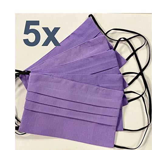 5x Behelfsmaske waschbar lila | Mund Nasen Maske | OEKO-TEX Standard 100 Zertifikat