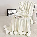 Fomoom Pom Pom Throw Blanket, Knit Throw Blanket with Pompom Tassels, Decorative Cotton Blanket for Couch Sofa Bed, All Season Warm Soft Cozy Pom Poms Knitted Blanket (Off-White, 39'x59')
