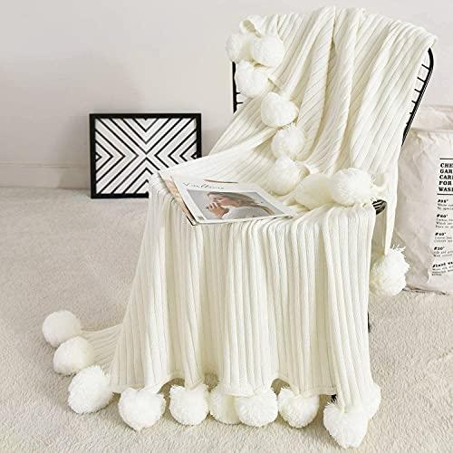 "Fomoom Pom Pom Throw Blanket, Knit Throw Blanket with Pompom Tassels, Decorative Cotton Blanket for Couch Sofa Bed, All Season Warm Soft Cozy Pom Poms Knitted Blanket (Off-White, 39""x59"")"