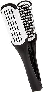 comprar comparacion ULTNICE Peine de alisado del pelo herramientas de estilismo cerda de cerdo doble cara peine cepillo abrazadera (negro blanco)