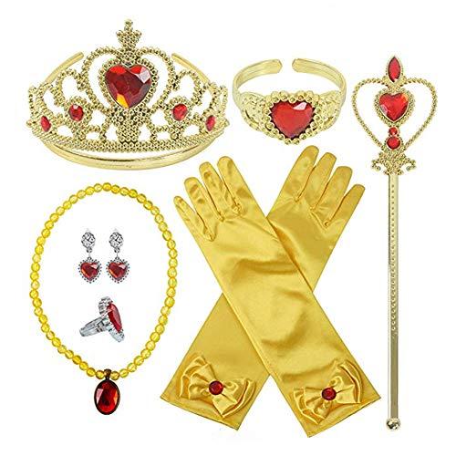 Pveath Set di Accessori da Principessa per Accessori per Costumi da Festa per Ragazze, Corona Principessa Inclusa, Bacchette, Bracciale, Anelli, Collana, Guanti, Orecchini, 9 Pezzi (Giallo)