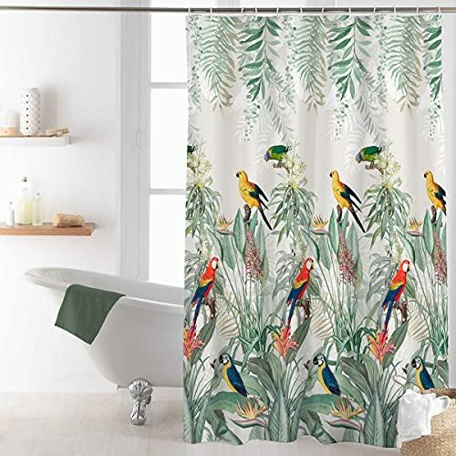 Sanixa U1801269 Duschvorhang Textil 180x200 cm Motiv Papagei bunt wasserabweisend waschbar Badewannenvorhang Vorhang hochwertige Qualität mit Ringen Metallösen