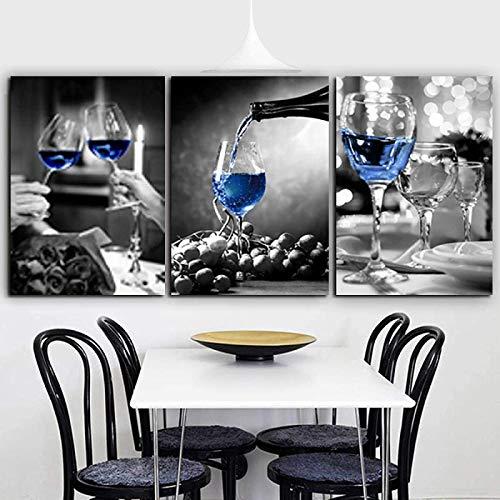 Imágenes retro 3 piezas 60x80 cm sin marco moderno romántico blanco y negro copa de vino arte pared galería de imágenes restaurante bar decoración del hogar cartel