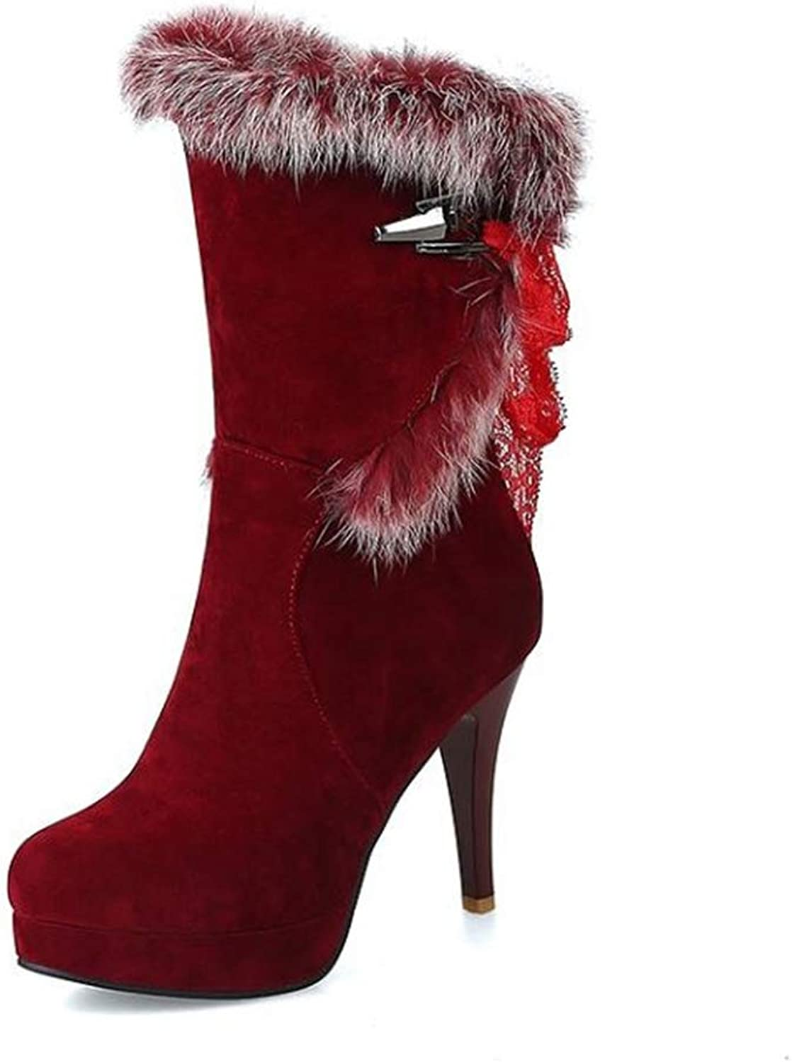 Women's Elegant Suede Stiletto Waterproof Round Toe High Heel Warm Ankle Winter Boots