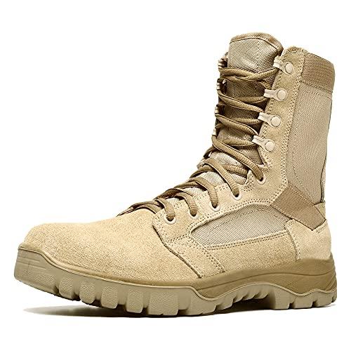 Botas tácticas Militares de Hombre Ultraligero, Tan Botas Jungle Combat, Zapatos de Trabajo y Seguridad (41 EU, Tan)