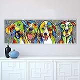 mmzki Arte de la Pared Animal Pintura al óleo Perro Lienzo Imagen para Sala de Estar Cachorro Amistad decoración del hogar t 60x100cm