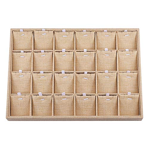 PandaHall BurlyWood - Bandeja de joyería con 24 rejillas, rectangular para collares, pendientes, pulseras, bandejas de almacenamiento
