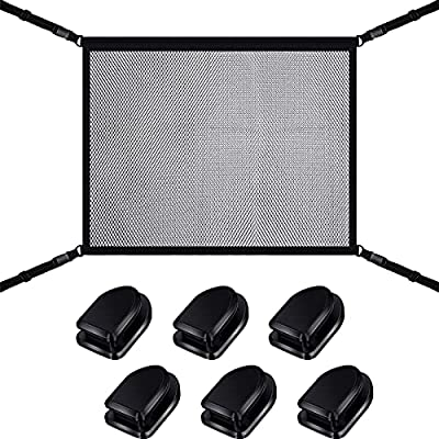 SUV Car Ceiling Storage Net Pocket Interior Car Cargo Net, 35 x 26 Inch, Car Roof Mesh Organizer Adjustable Double-Layer Mesh Bag Car Camping Storage Bag Pouch Car Accessories with Zipper Buckle