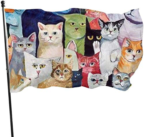 Viplili Banderas, All Kinds of Lovely Cats Flag: 3x5 FT Flag Tough The Strongest, Longest Lasting Flag National Flag Outdoor Flags