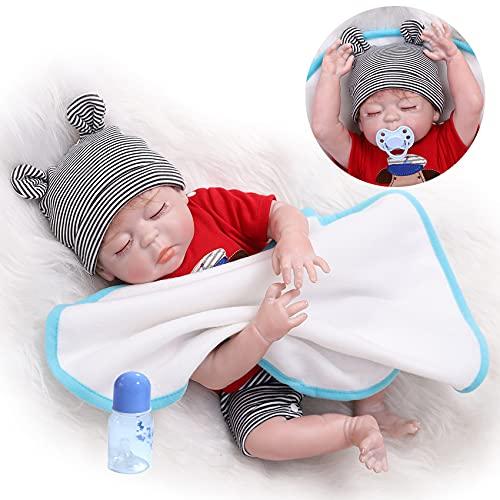 bambola newborn ZIYIUI 18 Pollici 45cm Corpo in Silicone Completo Impermeabile Bambola rinata Lifelike Newborn Baby Doll Realistico Anatomicamente Corretto Ragazzo Bambola