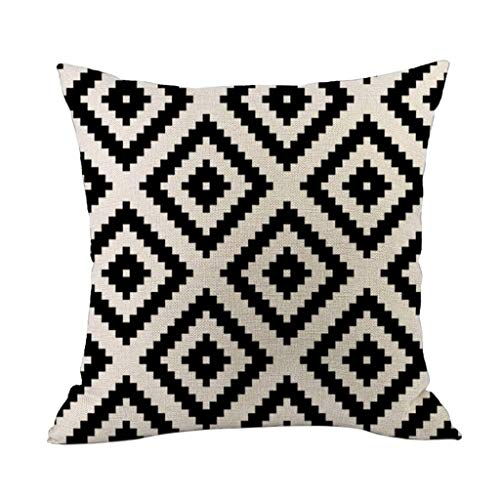 Momoxi Home 2020 New Throw Pillowcase Cushion Cover - Black and White Geometric Linen Square Sofa Throwing Pad Set Home Decoration For Living Room Office Car Coffee Shop Couch Bed Bedroom,45 X 45 cm