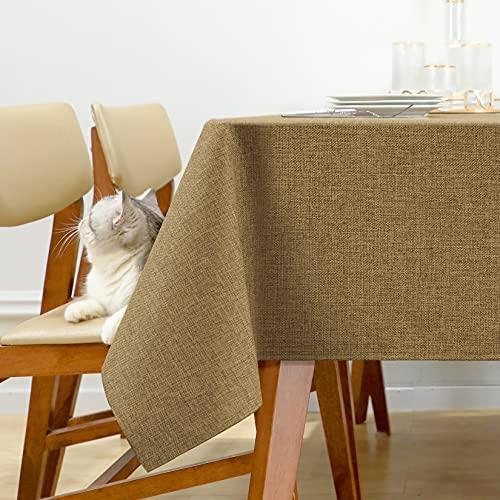 Joywell Tischdecke Tischdeko Wasserabweisend Lotuseffekt Abwischbare Fest Wachstuchtischdecke Tafeltuch Party Hochzeit Tischdecken 130x130 cm Ockerbraun