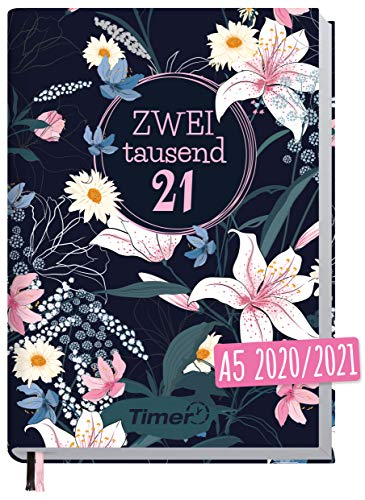 Chäff-Timer Classic A5 Kalender 2020/2021 [Dark Flower] Terminplaner 18 Monate: Juli 2020 bis Dez. 2021 | Wochenkalender, Organizer, Terminkalender mit Wochenplaner - nachhaltig & klimaneutral