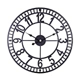 mingcheng Metal Wall Clock, 16 Inch Decorative Wall Clock Silent Non-Ticking Battery Operated Decor Clocks for Home, Living Room - Black