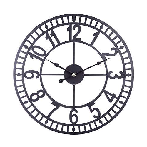 Teakpeak Reloj de Pared XL, 60cm Reloj de Pared Vintage Silencioso Grande Reloj de Pared de Metal con Número Romano Clásico Home Cafe Decor (Sin Batería)