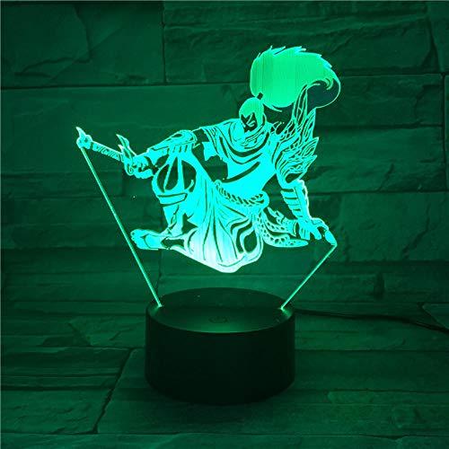 Lámpara de ilusión 3D Juego de luz nocturna LED Guerrero Nuevo 7 colores Artilleros Botón táctil Lámparas de escritorio Iluminación para niños Complementos USB Muebles para el hogar Decoración de