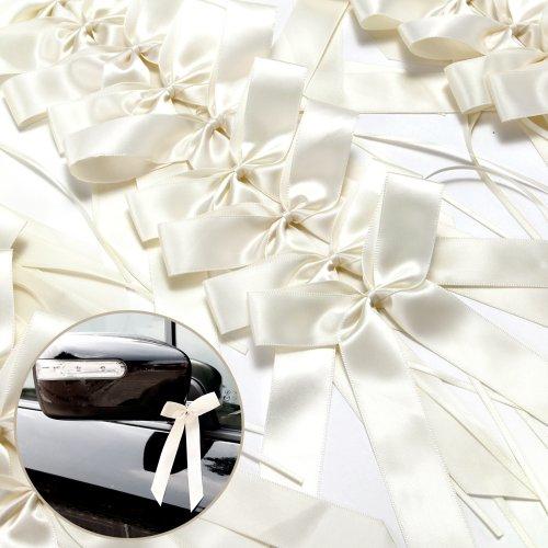 Surepromise Antennenschleifen Cream Autoschmuck 25 pcs Autoschleifen Hochzeit
