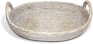 Saffron Trading Company Oval Tray with Loop Handles - White Wash