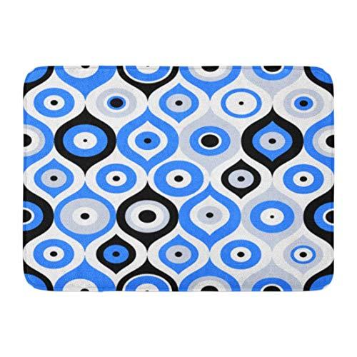 AGHRFH Fußmatte für drinnen und draußen, Blauer griechischer türkischer Blick, Glücksbringer, orientalisches Ottoman-Muster, 40,6 x 61 cm