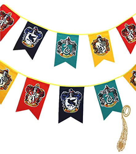birthday decor for harry flag potter Wall Banner, gryffindor | hufflepuff | ravenclaw | Casa Slytherin bandera de decoración (3m 12pcs)