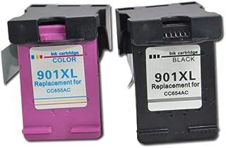 Wenon Refill 901 901XL Black Tri-Color Ink Cartridges Replacement for HP Officejet J4680 J4500 J4540 J4550 J4580 J4660 J46...